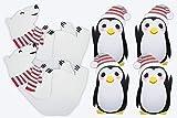 2 Polar Bear + 4 Penguin Standees Winter Wonderland Cutout Party Decoration