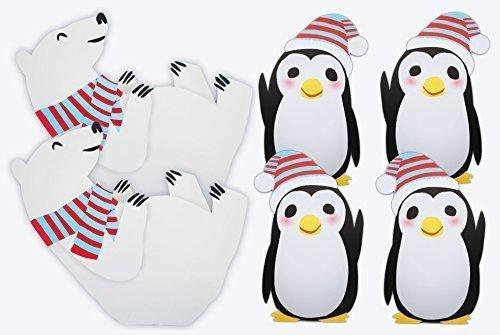 Amazon 2 Polar Bear 4 Penguin Standees Winter Wonderland Cutout Party Decoration Toys Games