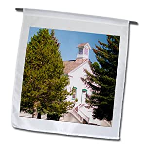 Jos Fauxtographee Historical - An old LDS Church built by Ebenezer Bryce in 1800s - 12 x 18 inch Garden Flag (fl_80050_1)