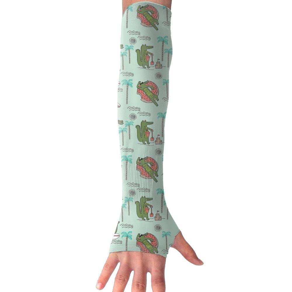 Unisex Alligator Tropical Palm Beach Sense Ice Outdoor Travel Arm Warmer Long Sleeves Glove