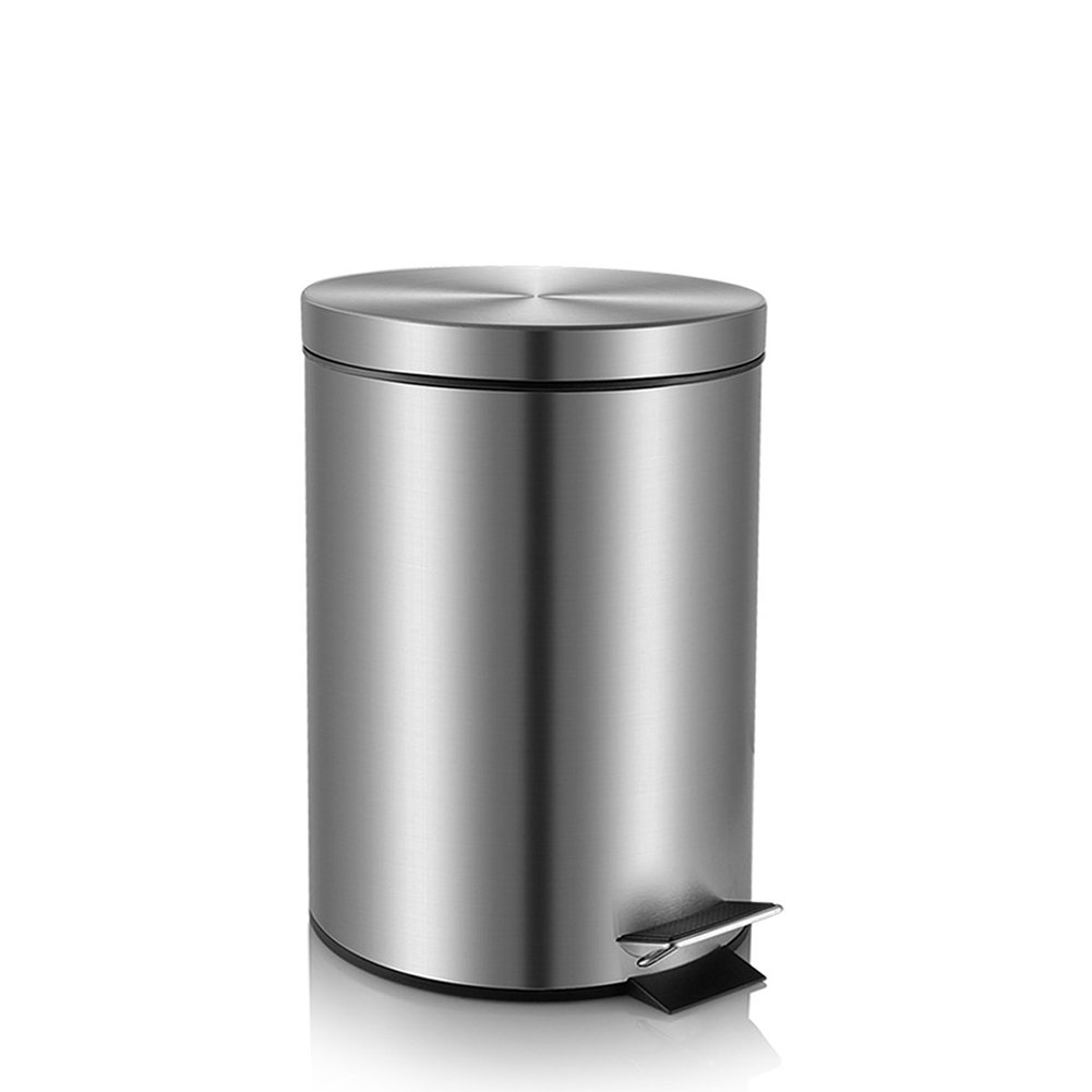 Fortune Candy Step Trash Can, Garbage Can with Lid, Small Trash Can for Bathroom / Limited Space (0.8 Gallon, Silver)