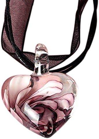 ガラスフラワーハートペンダント レディース ネックレス ペンダント ネックレス シンプル ギフト 誕生日 記念日,パープル