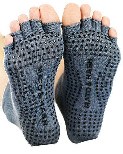 Mato & Hash Toeless Half Toe Yoga Socks With Grip Grey S/M