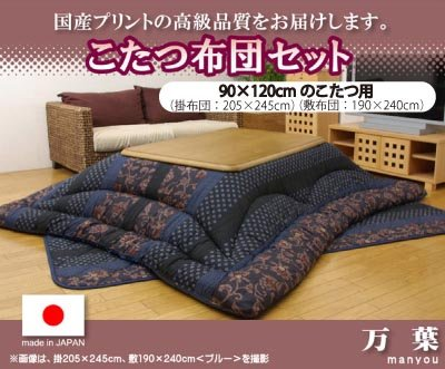 日本製こたつ厚掛けふとんセット『万葉』90×120cmのこたつ用[5934530][5934630] ブラウン B00AA8HADM ブルー ブルー