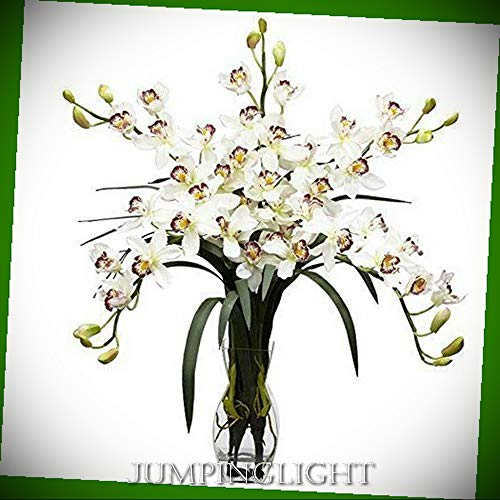 JumpingLight 1184-WH Cymbidium Orchid Silk Flower Arrangement Artificial Flowers Wedding Party Centerpieces Arrangements Bouquets -