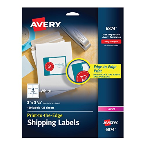 Avery White Laser Labels for Color Printing, 3