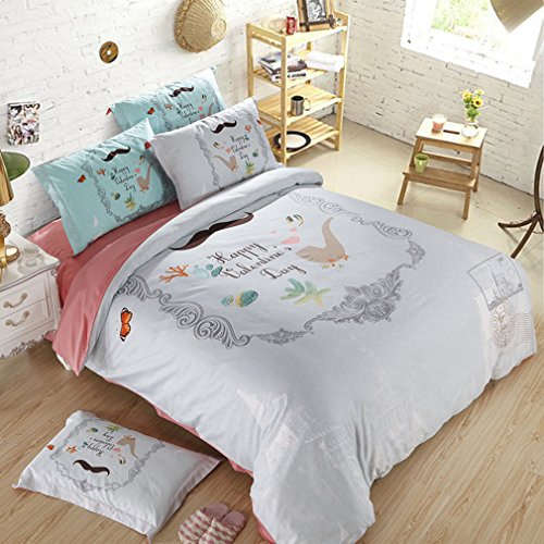 SAYM Home Bedding Sets 3D Oil Painting Flower Animal Rustic Floral Bedspreads Wedding Set Luxury Patchwork Quilts Set King Size, Flat Sheet, Shams Set 4Pieces