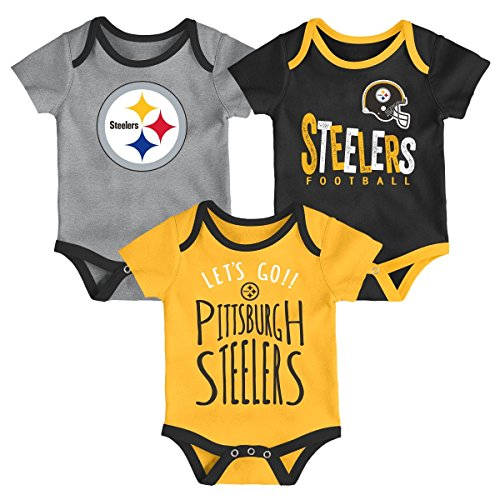 Nfl Pittsburgh Steelers Clothing - NFL by Outerstuff NFL Pittsburgh Steelers Newborn & Infant Little Tailgater Short Sleeve Bodysuit Set Black, 0-3 Months