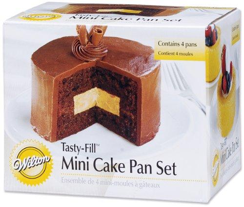 Wilton 2105-155 Mini Tasty Fill 4-Piece Pan Set (4 Inch Round Cake Pan)