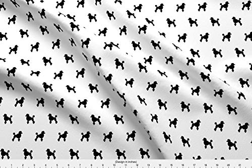 Spoonflower Dogs Fabric - Dogs Pet Fabric Silhouette Dog Fabric Poodle Black and White Black Dog Silhouette - by Mariafaithgarcia Printed on Organic Cotton Knit Ultra Fabric by The Yard -