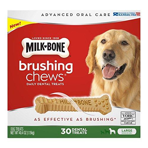 Chew Dental Bone - Milk-Bone Brushing Chews Daily Dental Treats, Large (30 ct.) ,40.4 oz (1.15kg) (pack of 3)