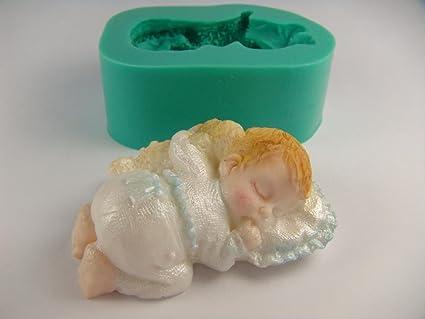 Caucho de silicona Sugarcraft Moldes Decoración de Pasteles Moldes Oficios Icing isomalt bebé dormido.