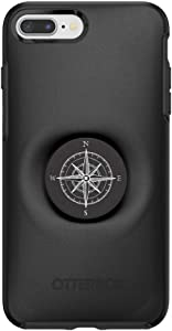 Otter + Pop for iPhone 7+ and 8+: OtterBox Symmetry Series Case with PopSockets Swappable PopTop - Black and Compass