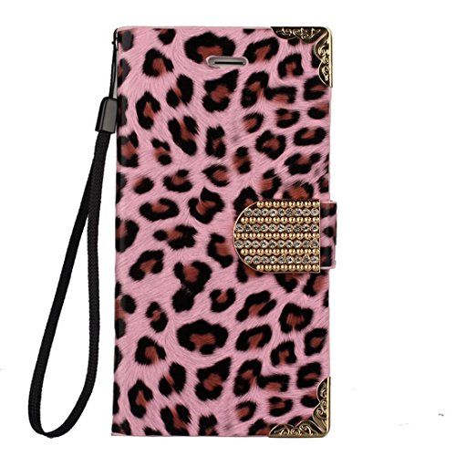 Pooqdo (TM) 2014 Newest Leopard Wallet Leather Hard Case Cover For Iphone 6 4.7 Inch Pink