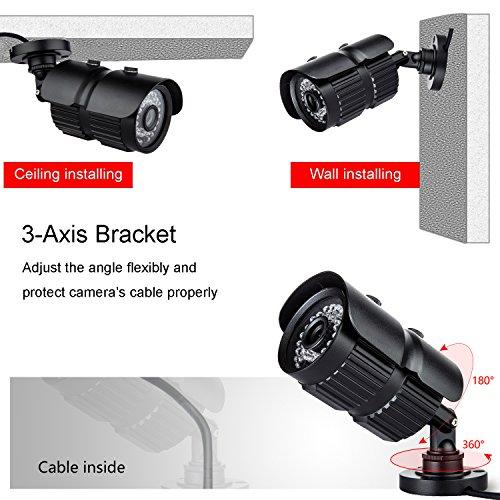 CANAVIS HD 1000TVL CCTV Camera 3.6mm Lens with IR Night Vision Outdoor/Indoor Waterproof Security Bullet Camera,Aluminum Metal Housing(Black) by CANAVIS (Image #3)