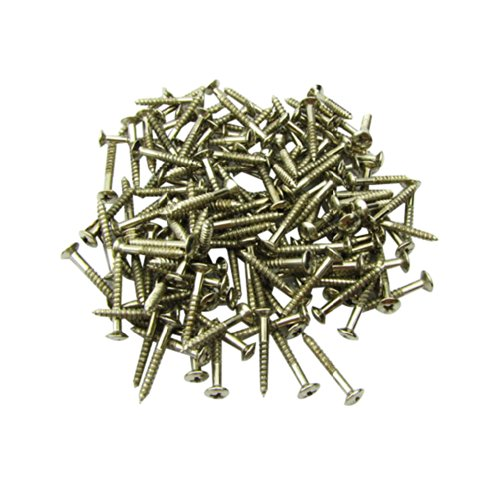 Musiclily Humbucker Pickup Frame Ring Mounting Screws for Fender Strat Tele Les Paul SG Guitar Bass Replacement, Chrome Nickel Color(Pack of 40)