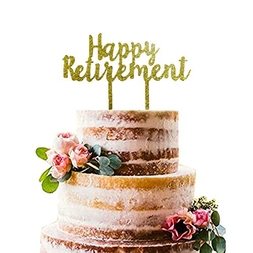 Gold Happy Retirement Acrylic Cake Topper - Retirement Party Supplies Favors, Gifts and Decorations