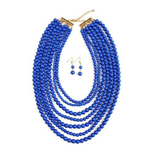 RIAH FASHION Women's Bold Bead Strand Necklace Set (Blue) (Strand Multi Necklace Blue)