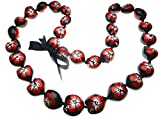 Aloha Passion Hawaiian Style Kukui Nut Lei, Hand Painted Red Hibiscus 32 Inches