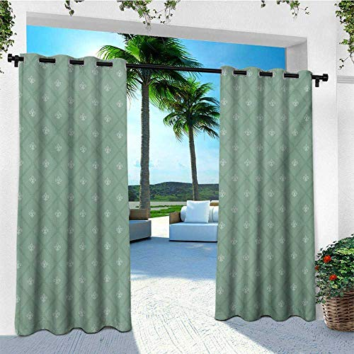 - leinuoyi Fleur De Lis, Outdoor Curtain Extra Long, Abstract Geometric Pattern with Rectangles and Royal Lilies Floral Elements, for Patio Waterproof W120 x L108 Inch Reseda Green