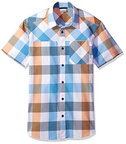 Columbia Men's Thompson Hill Yarn Dye Short Sleeve Shirt, Koi Large Check, Medium