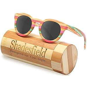 Wood Polarized Sunglasses Wayfarer Style -100%UV Protection,Colorful Bamboo Wooden Frame (Grey)