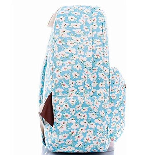 OUFLY lindo amarillo claro y crisantemo pastoral estilo lona mochila mochila de impresión de viajes Daypack impreso mochila hombro bolsa mochila escuela escuela bolsa para mujeres Damas Chicas Crisantemo azul claro
