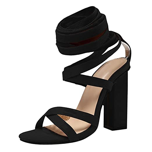 370c97662 JJLIKER Women Gladiator Sexy Lace-up Thick High Heel Pumps Summer Fashion  Cross Strappy Sandals