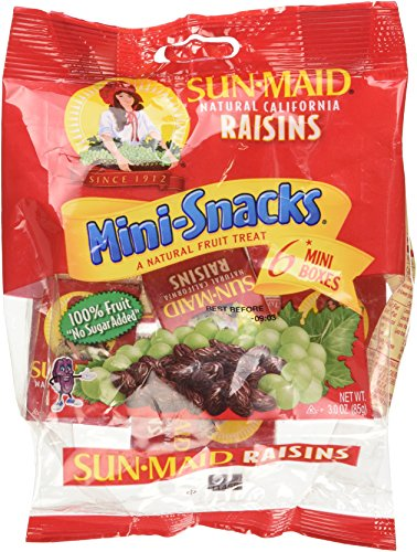 SUN Maid Natural California Raisins Mini-snacks a Natural Fruit Treat: 12 Packs of 6 Mini Boxes (Total of 72 Boxes) - Dt