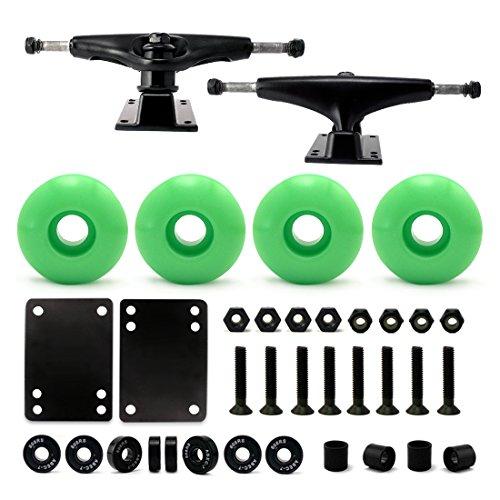 VJ 5.0 Skateboard Trucks (Black), Skateboard Wheels 52mm, Skateboard Bearings, Skateboard Pads, Skateboard Hardware 1 (52mm Light Green)