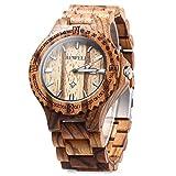 Bewell Luxury Mens Handmade Coffee Zebra Wooden Watch Japan Calendar Movt Men Big Wristwatches