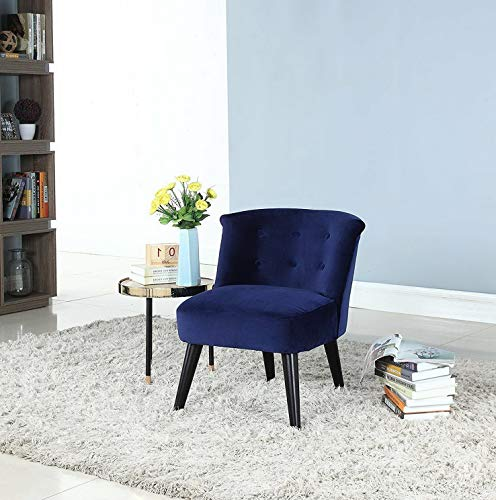 Monowi Classic Living Room Velvet Fabric Accent Chair, Button Decor, Wooden Legs, Navy | Model CCNTCHR - 49