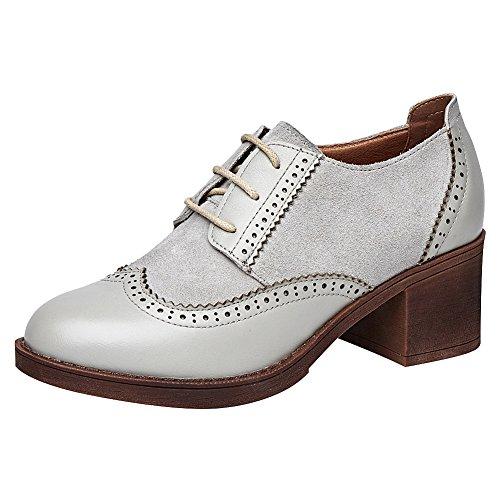 Rismart Blanco Puntiaguda Zapatos Cordones Wingtips Oxfords De Cuero Mujer Punta Brogue HwaBq4HS