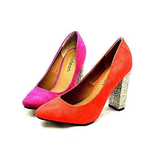 Las señoras suedette puntiagudos corte zapatos con talón de oro brillo Púrpura