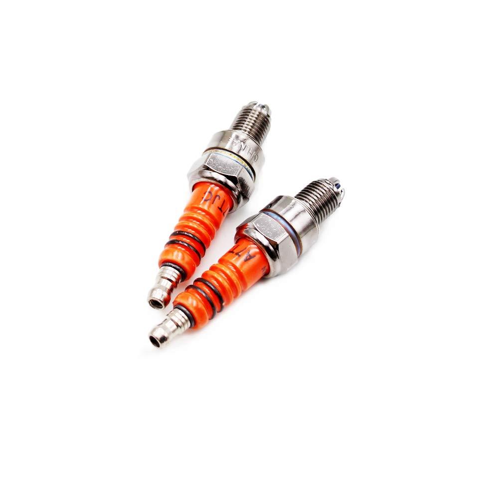 PRO BAT 2 Packed High Performance Head Spark Plug for CG Vertical CF250 CH250 Engine Series HONDA CG125 Lifan Zongshen TAOTAO Orange D8TJC D8TC 3 Electrode Spark Plug