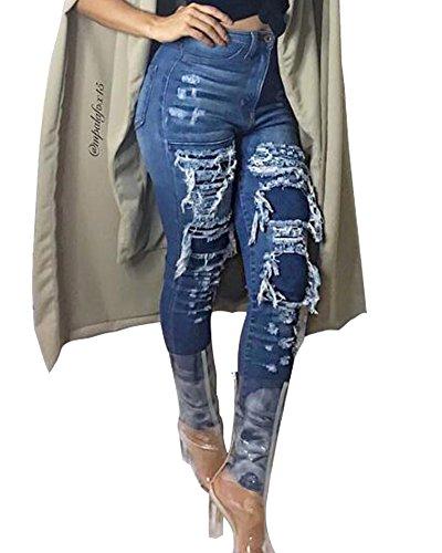 ZhuiKun Pantalones Vaqueros Dril de Algodón Pantalones Rotos Azul Jeans Como La Imagen