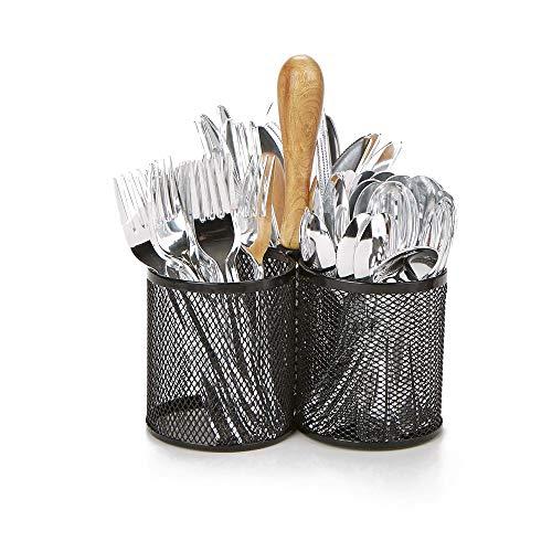 Mind Reader 3CIRMESH-BLK, Cutlery, Silverware Organizer, Utensil Caddy, Multi-Purpose Holder, Silver, Black Bamboo