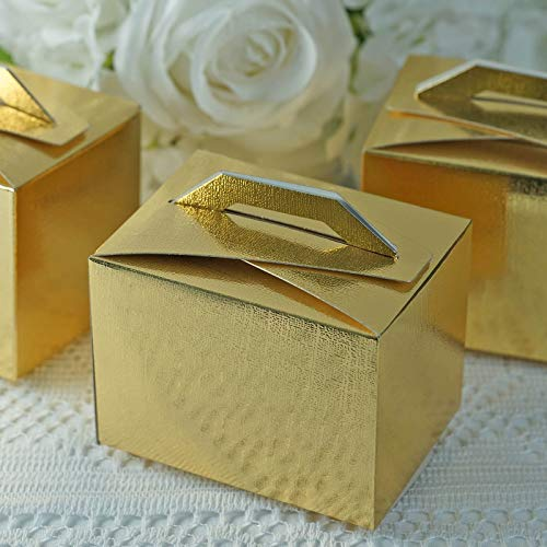 Efavormart 100pcs Gold Tote Favor Boxes Party Goodie Boxes Treat Box for Wedding Reception/Bridal Shower/Banquet Event
