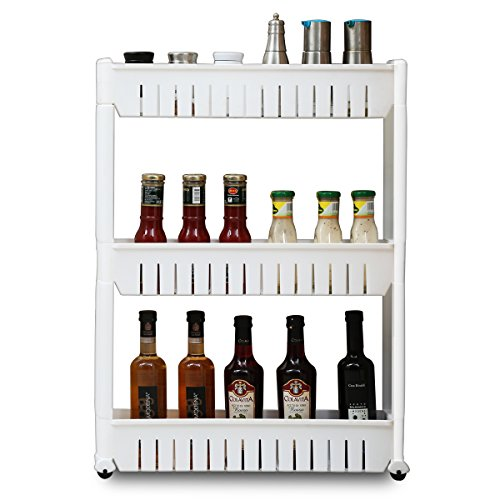 1208S Rolling Kithen Cart Slide Out Storage Tower Slim Pantry Cabinet for Narrow Space, 3 Tier