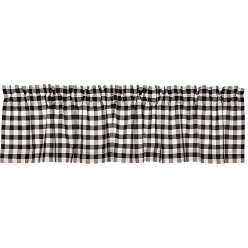 VHC Brands Classic Country Farmhouse Kitchen Window Curtains - Annie Buffalo Check White Lined Valance, 16