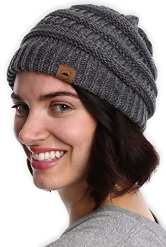 Cable Knit Beanie Womens - Tough Headwear Cable Knit Beanie - Thick, Soft & Warm Chunky Beanie Hats for Women & Men - Serious Beanies for Serious Style