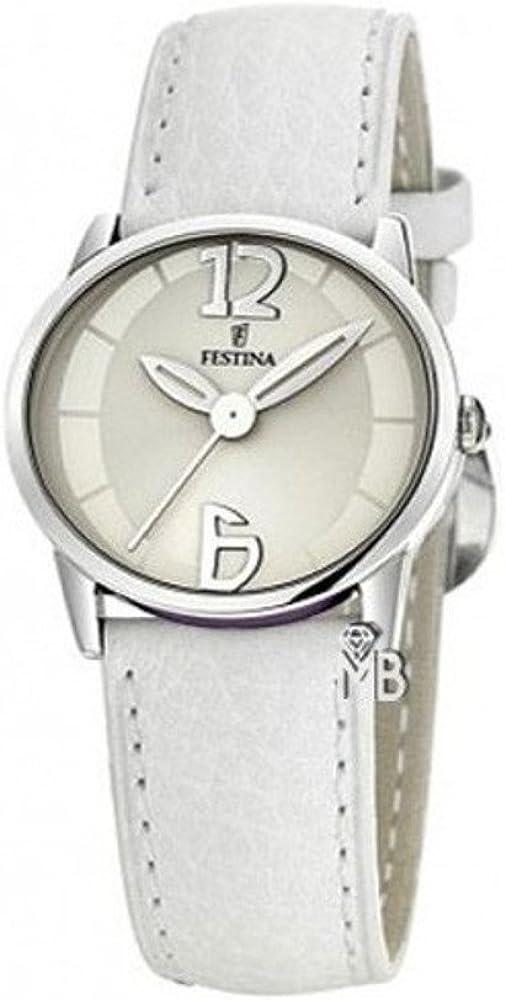 Reloj Festina señora Piel Esfera Blanca 35 mm. W.R. 30 m