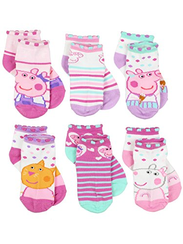 (Peppa Pig Girls 6 pack Socks (2-4 Toddler (Shoe: 4-7), Pink/Multi Quarter))