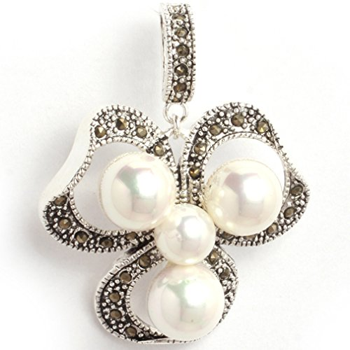 29x38mm round Shell freshwater cultured Pearl beads Flower Frame Marcasite Silver Base Pendant