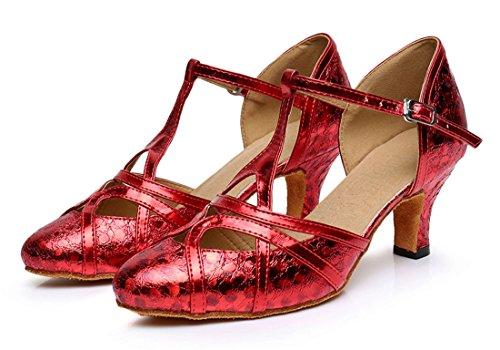 F & M piel sintética para mujer Mid tacón Salsa Tango salón de baile zapatos de baile latino Party CM101 6cm Printing Red