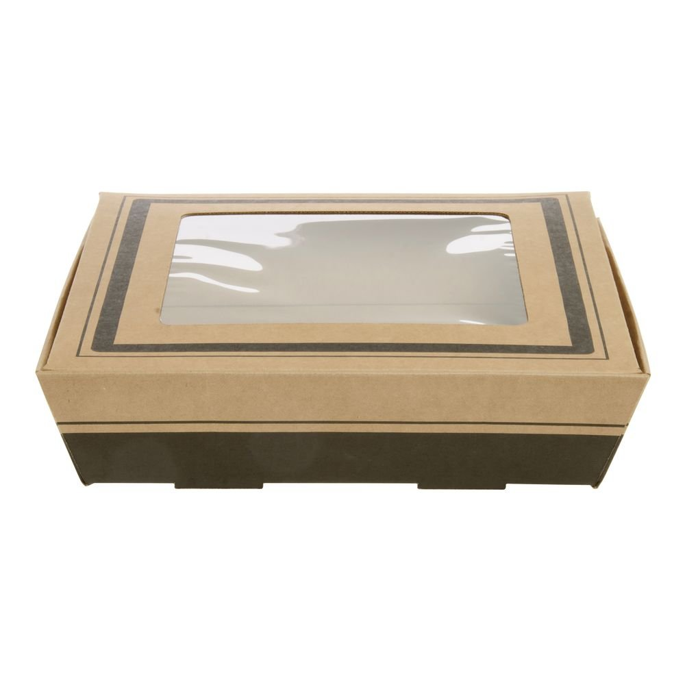 Southern Champion Tray 1180 12'' Kraft Corrugated Flared Square Catering Tray with Window Lid, Top Dimensions 15'' x 15'' x 3-3/4'' (Case of 20)