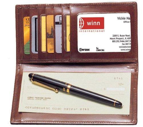 Tan Aniline Leather (High Polished Cowhide Aniline Leather Checkbook / Secretary Color: Reddish Tan)