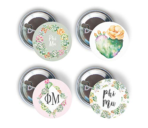 Phi Sorority Button - Phi Mu Sorority Succulent Floral Variety Pack of Buttons Pin Back Badge 2.25-inch Pi Phi