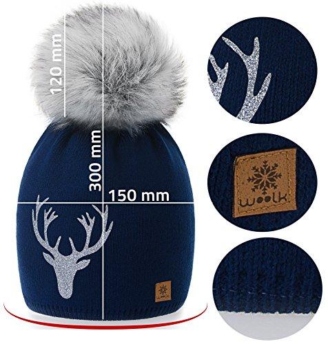 5e4298531ae ... Model Reindeer Hat Knitted Large Cap Lining Fleece Pom Girls Wool Ski  Womens Blue Snowboard Winter ...