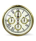 Nagina International Nautical Brass World Times Clock Five Mechanism Motors | Nautical Boat Ship Accessorial Clock